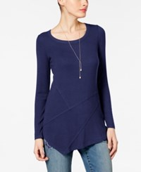 Inc International Concepts Ribbed Asymmetrical Tunic Only At Macy's Tartan Blue