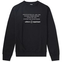 Uniform Experiment Inside Out Physical Fitness Crew Sweat Black