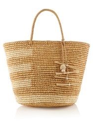 Sensi Studio Asymmetric Striped Straw Tote Cream Multi