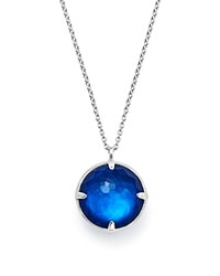 Ippolita Sterling Silver Wonderland Round Mother Of Pearl And Quartz Doublet Pendant Necklace In Ultramarine 31 Blue Silver