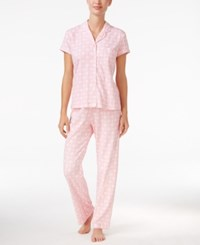 Charter Club Satin Trimmed Printed Pajama Set Only At Macy's Pink Diamonds