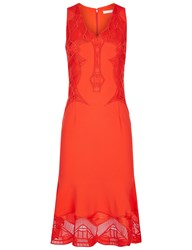 Jonathan Simkhai Bright Red Lace Applique V Neck Dress