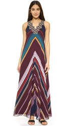 Twelfth St. By Cynthia Vincent Ziggurat Maxi Dress Multi Stripe