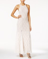 Jump Juniors' Sequin Lace Beaded Back Gown Ivory