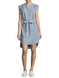 Bcbgmaxazria Woven Denim Shirt Dress Light Chambray