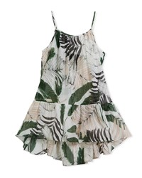 Milly Minis Palm Tree Print High Low Coverup Dress Multi