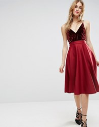 Asos Full Circle Scuba Prom Skirt Oxblood Red