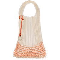 Jil Sander Beige And Orange Small Beaded Market Tote Bag