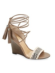 Vince Camuto Adriani Braided Leather Wedge Sandals Brown