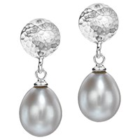Dower And Hall Button Stud Pearl Drop Earrings Silver Grey