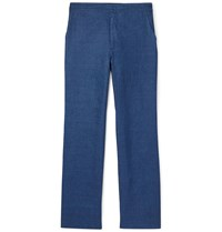 Brioni Navy Linen Trousers Blue