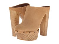 Jessica Simpson Denley Dakota Tan Split Suede Beechwood Wood Heel High Heels Beige