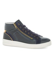 Topman Navy Leather Drape Mid Boots