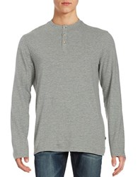 Black Brown Striped Henley Top Pearl Grey Heather