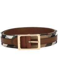 Burberry Checked Belt Brown