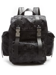 Valentino Camustars Nylon And Leather Backpack Black