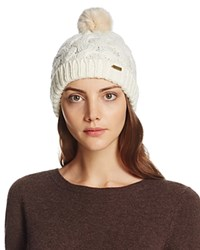 Barbour Cable Beanie With Faux Fur Pompom Snow