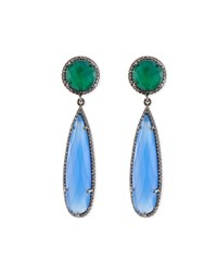 Green Onyx And Chalcedony Drop Earrings Siena Jewelry Black