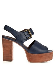 See By Chloe Leather Platform Sandals Navy