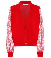 Ryan Roche Lace Trimmed Cashmere Cardigan Red