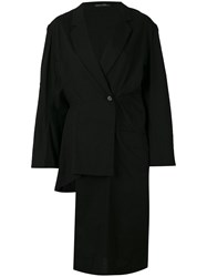 Yohji Yamamoto Long Asymmetric Blazer Women Cotton Linen Flax Polyester M Black