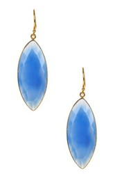 Gold Plated Sterling Silver Blue Chalcedony Marquise Earrings