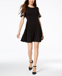 Styleandco. Style Co Embroidered Cold Shoulder Dress Created For Macy's Black Embroidered