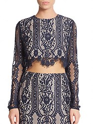 Style Stalker Vivid Lace Cropped Top Sapphire