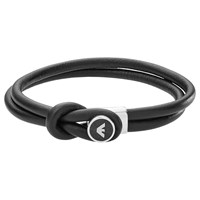 Emporio Armani Men's Leather Bracelet Black Silver