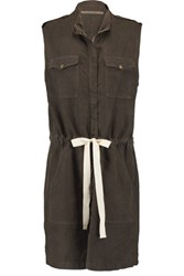Enza Costa Linen Blend Dress Army Green
