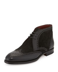 Magnanni Textured Suede And Leather Wing Tip Oxford Boot Black