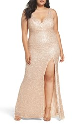 Mac Duggal Plus Size Women's Front Slit Sequin Gown Rose Gold