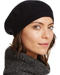 Bloomingdale's C By Waffle Knit Cashmere Beret Black