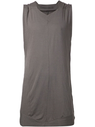 Julius V Neck Long Tank Grey