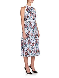 Mary Katrantzou Latrue Floral Print Midi Dress Solar Rose Grey