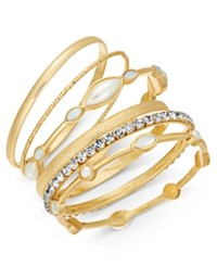 Inc International Concepts I.N.C. Silver Tone 6 Pc. Set Crystal And Purple Stone Bangle Bracelets Created For Macy's Gold