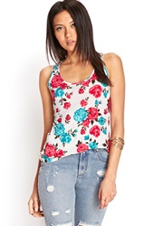 Forever 21 Floral Lace Racerback Tank Ivory Fuchsia