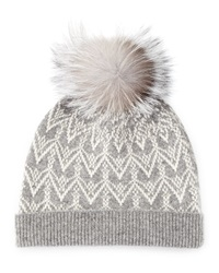 Sofia Cashmere Cashmere Fair Isle Knit Hat With Fur Pom
