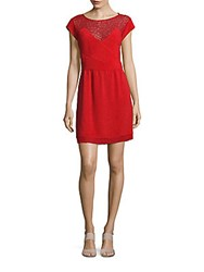 The Kooples Jewelneck Cap Sleeve Dress Red