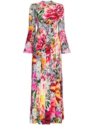 Mary Katrantzou Desmine Paint By Numbers Print Long Dress Pink And Purple