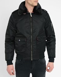 Harrington Black Flight Nylon Jacket With Removable Fur Collar
