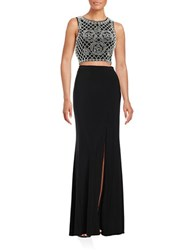 Xscape Evenings Two Piece Cropped Top And Skirt Set Black White