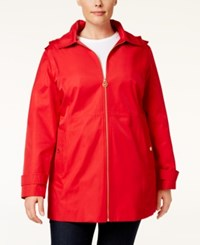 Michael Kors Plus Size Hooded Raincoat Red
