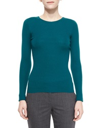 Michael Kors Long Sleeve Ribbed Cashmere Sweater Peacock