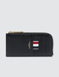 Thom Browne Half Zip Around Wallet In Pebble Grain Black