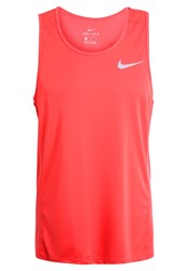 Nike Performance Miler Sports Shirt Track Red Reflective Silver