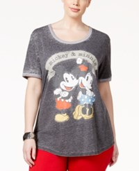 Hybrid Trendy Plus Size Mickey And Minnie Graphic T Shirt Charcoal