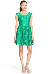 A. Drea Cap Sleeve Lace Skater Dress Green