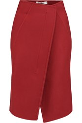 Jil Sander Wool Fleece Wrap Skirt Red