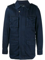 Yves Salomon Rabbit Fur Lined Denim Jacket Blue